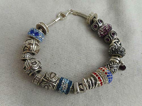 Helzberg RCI 925 Snake Chain & 20 RCI Slide Bead Charms Bracelet - 57 Grams...