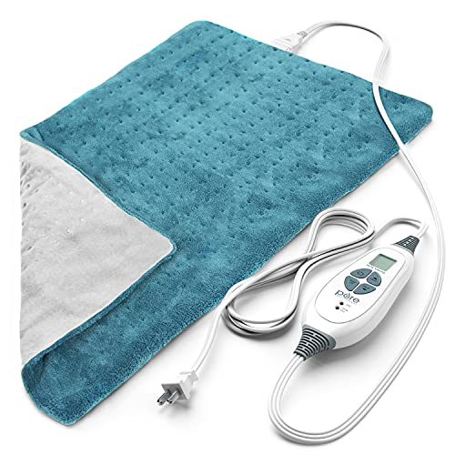 PURE ENRICHMENT PureRelief XL King Size Heating Pad (Turquoise Blue) - Fast-Heating Machine-Washable Pad - 6 Temperature Settings, Moist Heat Therapy Option, Auto Shut-Off and Storage Bag - 12' x 24'
