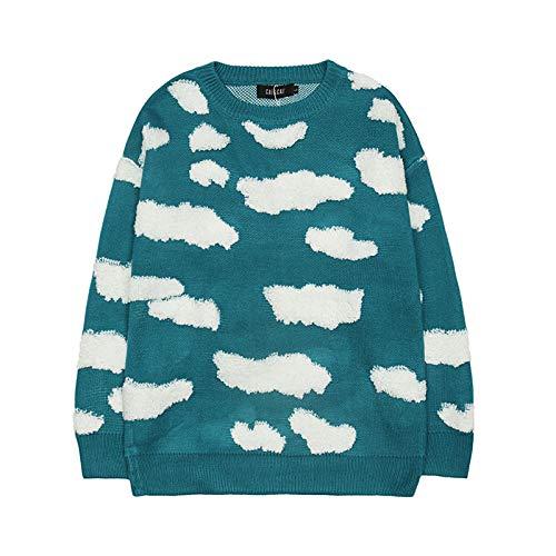 Herren Pullover Herbst und Winter Persönlichkeit Trenddruck Pullover Freizeitpullover Street Fashion Loose Round Neck Langarmpullover M