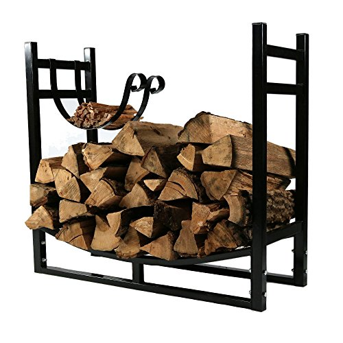 Sunnydaze 33-Inch Firewood Rack with Kindling Holder - Indoor or Outdoor Black Powder-Coated Steel...