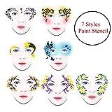 pintura facial niños, 7 Estilos/set Reutilizable DIY Pintura de la cara Plantilla de la pintura corporal Flor Mariposa Herramienta de maquillaje