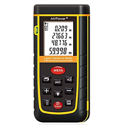 MVPower Newest Handheld Laser Distance Meter with Bubble Level Rangefinder Range Finder Tape measure Large LCD with Backlight - Black&Yellow