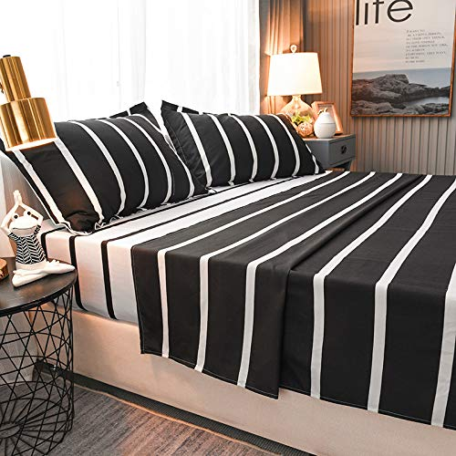 Teinopalpus Bed Sheet & Pillowcase Sets- Lightweight Super Soft Easy Care Microfiber 1500 Black White Bedding Zebra Pattern - Twin - 4 Piece