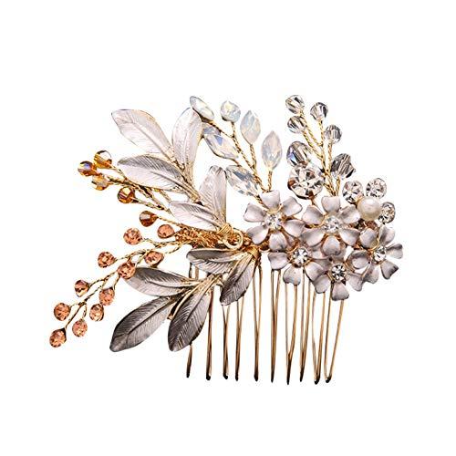 Ogquaton Premium Qualité Unique Brillant Feuilles Fleur Strass Tuck Peigne Mariée De Mariage Partie De Chapeaux Cadeau