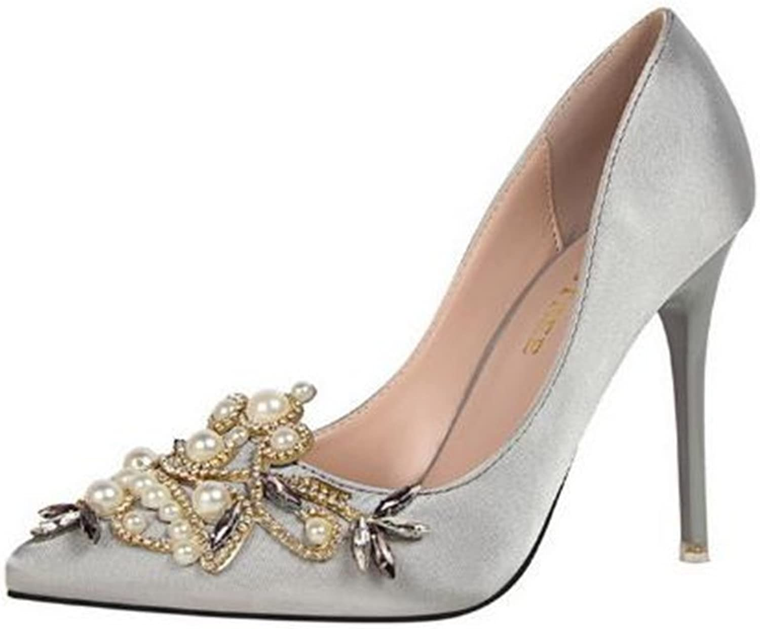 Gusha Pearl Rhinestone Frosted high-Heeled shoes Pointed Toe Women's Stilettos