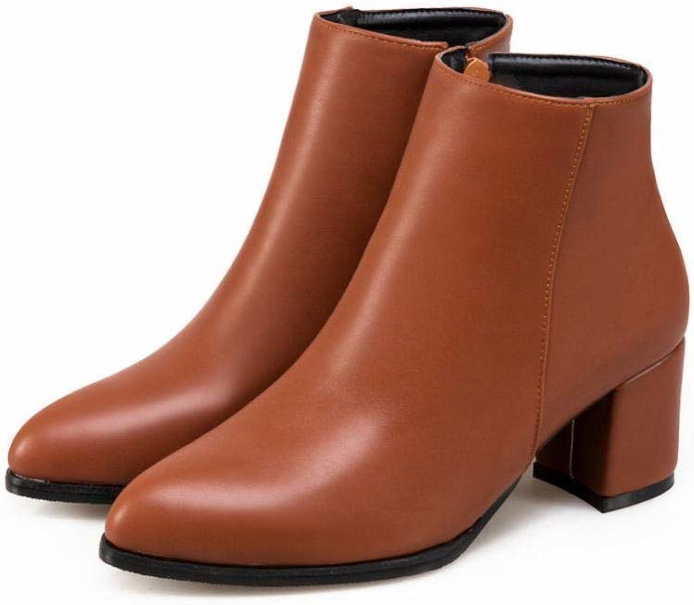 ZHRUI Damenstiefel - High High High Heel Stiefel Retro Spitzen Damenstiefel Seitlicher Reißverschluss Winter Warme Stiefel Dicken Absatzschuhe 36-43 (Farbe   Gelb, Größe   37)  177aaa