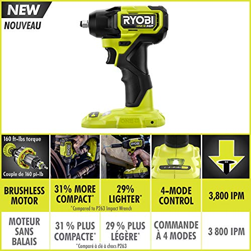 RYOBI 18V ONE+ HP Brushless Cordless Compact 3/8 -inch Impact Wrench (Tool Only)