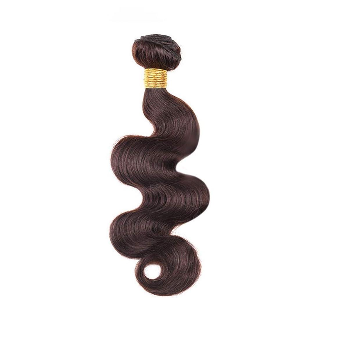 水を飲む表現恥ずかしさBOBIDYEE 100%人毛織りバンドルリアルレミーナチュラルヘアエクステンション横糸 - ボディウェーブ - 2#ダークブラウン(100g / 1バンドル、10インチ-24インチ)複合毛レースかつらロールプレイングウィッグロング&ショート女性ネイチャー (色 : Dark brown, サイズ : 16 inch)