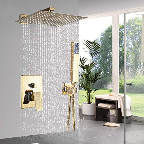 ZYHYCH Juego de ducha dorada de 8/10/12 pulgadas, grifo de ducha cuadrado de lluvia, montaje en pared, grifo de baño, juego de mezclador de ducha ocul.