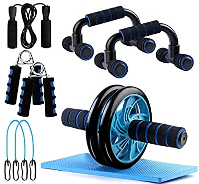 BOSWELL Ab Roller Wheel, 5-in-1 Ab Roller Kit with Knee Pad, Grip, Skipping Rope, Resistance Bands, Pad Push Up Bars Handles Grips, Perfect Home Gym Equipment for Men Women Exercise