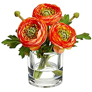 SilksAreForever 6.5″ Silk Ranunculus Flower Arrangement w/Glass Vase -Orange (Pack of 4)
