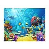 Solustre 3D Cartoon Fotografía Fondo Mar Mundo Fotografía Fondo Cartoon Mondo Submarino Fondo para Niños Foto Estudio Fotografía Fiesta de Cumpleaños 150 x 90 cm