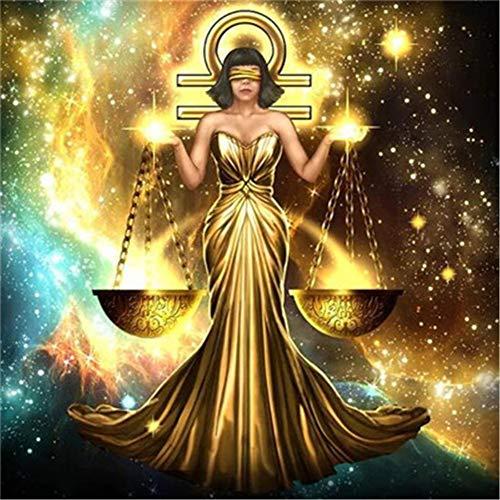YINGOO 5D DIY Pittura Diamante Completo Kit Zodiac Starry Dress Golden Woman Bilancia Diamond Painting Decorazione da Parete Strass Ricamo Diamante Art T1532-Round Drill,40X50cm