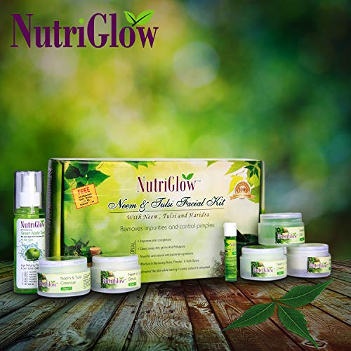 NutriGlow Neem And Tulsi Facial Kit With Green Apple Toner Removes Impurities Controls Pimples And Aging Effects (Paraben &...