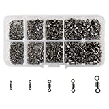 Shaddock Fishing 500pcs/box Size 2 4 6 8 10 Fishing Rolling Swivel High-Strength Stainless Steel Rolling Barrel Swivel Fishing Tackle-30Lb to 97 Lb
