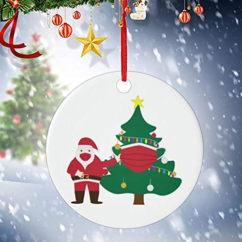 Shan-S 2020 Christmas Tree Ornament, Merry Christmas Masked Santa Claus Toilet Paper Xmas Tree Hanging Decoration Circle Double-Sided Printed Holiday Christmas Family & Friends Gift