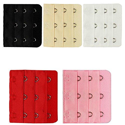 COM-FOUR® 5x beha-verlengstuk 3 rijen met elk 3 haken (verlengset van 5: 5x5 cm - wit/rood/beige/zwart/roze) (Extender set van 4: 5x5cm - wit/rood/beige/zwart)