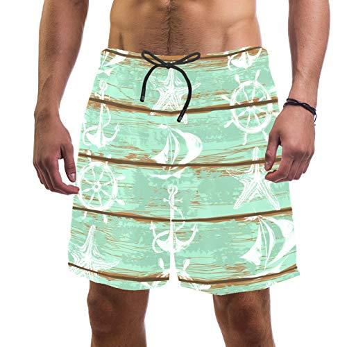 Pantalones cortos de playa para hombre, de secado rápido, con bolsillo y ancla náutica
