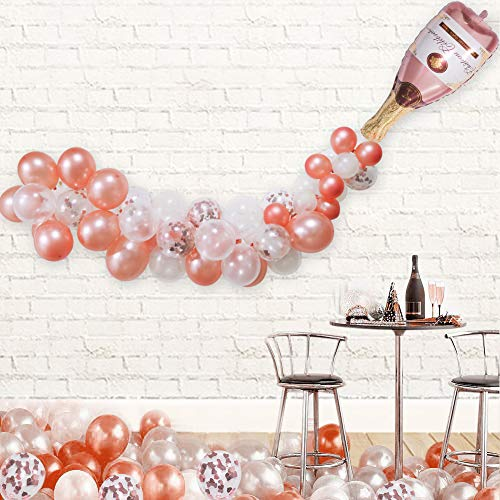 Champagne Bottle Balloon Kit, 40' Champagne Wine Bottle Rose Gold Balloon and 70 PCS Assorted Balloons Garland Kit Balloon Arch Rose Gold Confetti Balloons for Wedding Birthday Bachelorette Bridal Shower Party Decorations