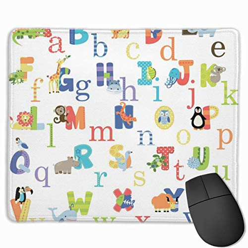 Englisches Alphabet Tiere Muster Rechteckiges, rutschfestes Gaming-Mauspad Tastatur...