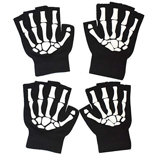 MELOP Unisex Halbfingerhandschuhe Skelettmuster Glow in The Dark Halloween Totenkopf Knochen Gemusterte Strickhandschuhe