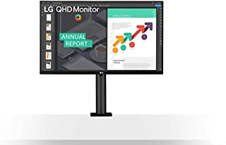 LG 27 inch QHD Ergo Monitor with IPS Display, HDR 10, AMD FreeSync, Ergonomic Stand with C-Clamp, USB Type-C, safe, Reader...