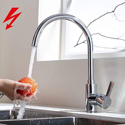 HOMELODY 360° drehbar Niederdruckarmatur Küche aus Messing Wasserhahn Spültischarmatur Küchenarmatur Mischbatterie Spülbecken Küchenspüle Einhebelmischer für Boiler