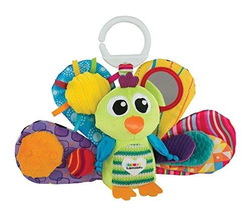 Lamaze LC27013 Baby Spielzeug Jaques, der Pfau Clip & Go, das hochwertige Kleinkindspielzeug. Der quietschbunte Greifling fördert die Motorik und ist das perfekte Kinderwagenspielzeug und Kuscheltier