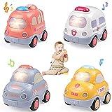 WolinTek 4Pack Coches de Juguete con Luces y Sonidos para niños,uguetes de Coche accionados por fricción por inercia,Camiones De Juguete Regalos para bebés,Early Educational Vehicles