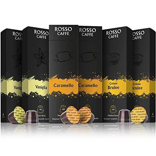 Rosso Coffee Capsules for Nespresso Original Machine - 60 Gourmet Espresso Pods Flavor Pack, Compatible with Nespresso Original Line Machines