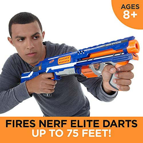 Rampage Nerf N-Strike Elite Toy Blaster with 25 Dart Drum Slam Fire & 25 Official Elite Foam Darts for Kids, Teens, & Adults (Amazon Exclusive)