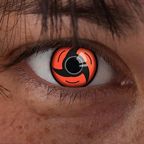 aricona Kontaktlinsen - Sharingan Kontaktlinsen Sharingan Uchiha - Farbige Kontaktlinsen ohne Stärke für Cosplay, Karneval, Fasching, Motto-Partys und Halloween Kostüme, 2 Stück