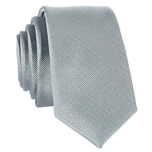 DonDon Corbata estrecha 5 cm de color gris - hecho a mano