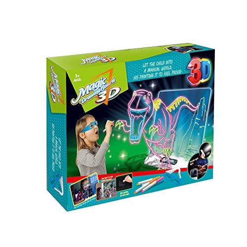 HeiHeiDa 3D Fun Drawing Block Board leuchtet dunkel mit Licht für Kinder, die Zeichenspielzeug entwickeln 3D Fluoreszierendes Malspielzeug (Ozean-Weltraum-Dinosaurier)