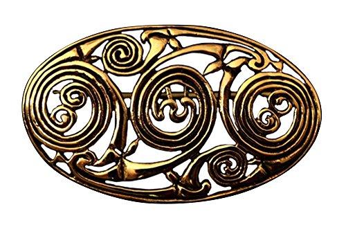Broche Celta con espiral, diseño de bronce gewandschließe Aphrodite Gold Broche Vikingo gewand joyas fibel LARP