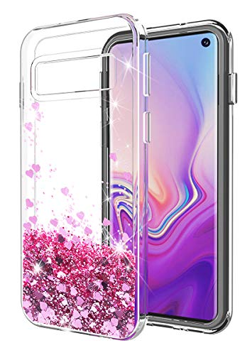 Galaxy S10E Case SunStory Luxury Fashion Design with Moving Shiny Quicksand Glitter and Double Protection with PC Layer and TPU Bumper Case for Samsung Galaxy S10E Phone (Purple)