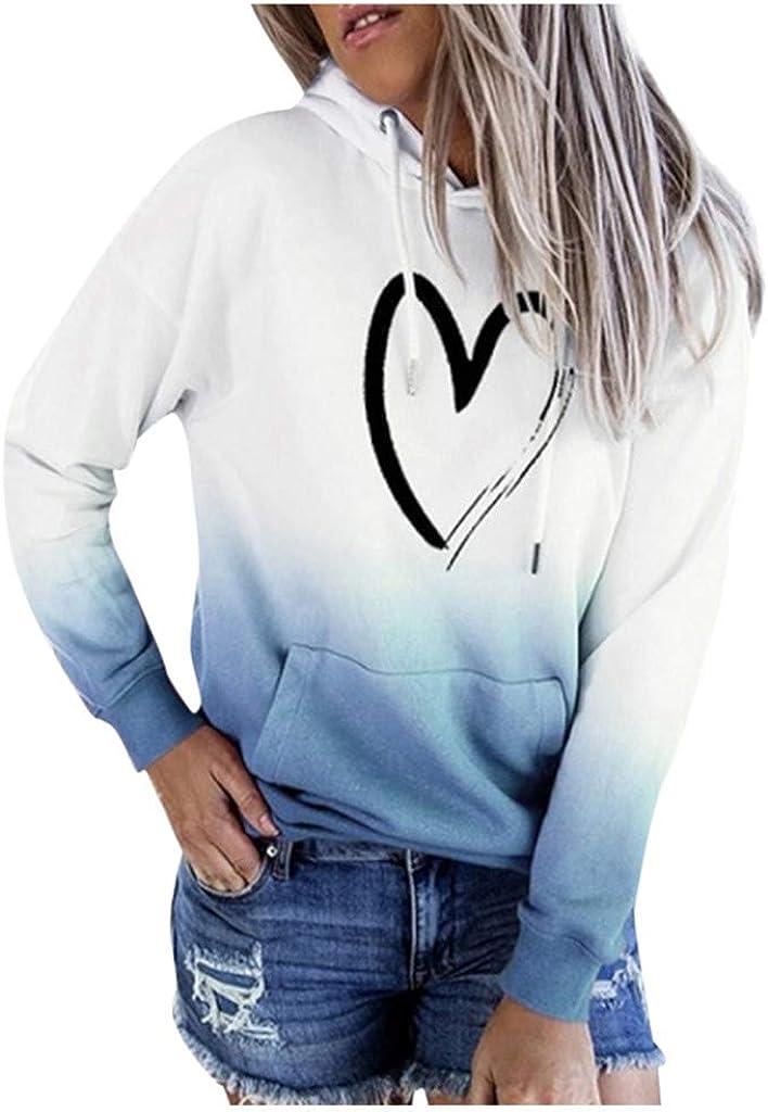 Sweatshirt for Women ,Women's Hooded Tie-Dye Print with Pocket Drawstring Long Sleeve Casual Hoodies Pullover Tops Shirt