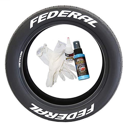 Pegatinas para Llantas Federal Tire – Kit de Letras de Goma Permanente para neumáticos con Pegamento (Paquete de 8)