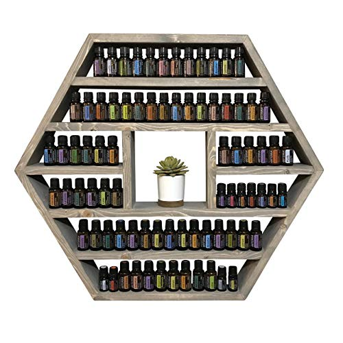 The Pisgah - Handmade essential oil shelf storage - wooden - hexagon - holds 175-235 bottles