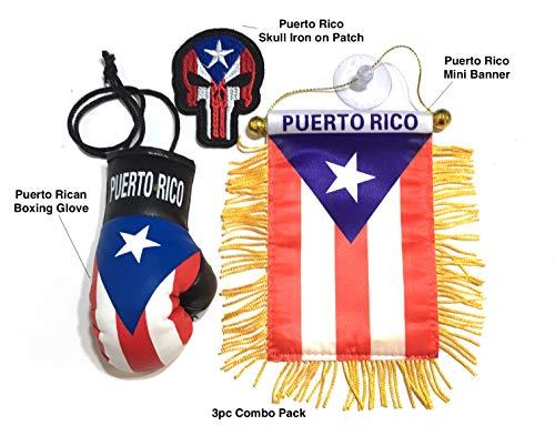 Iron on or sew on Puerto Rico Skull Automobile /& Home mini Banners Puerto Rico Flag Puerto Rico Coqui