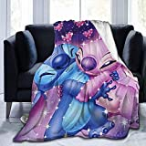 Easter Picnic Blankets Lilo and Stitch Blanket Ultra-Soft Micro Cartoons Flannel Blanket for Couch Bed Warm Plush Throw Blanket Suitable for Kids Adultsall Seasons-Lilo and Stitch02-60x50Inch