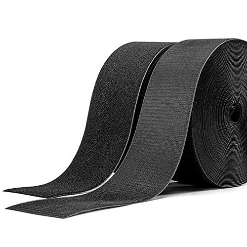 hadio 25mmX10M Nastro Gancio e Anello da Cucire, Non Adesivo Nastro Biadesivo per Tessuti per Cucire On Tessuti con Lunghezza Personalizzabile, 10m Gancio e 10m Anello Nastro, Larghezza 25mm, Nero