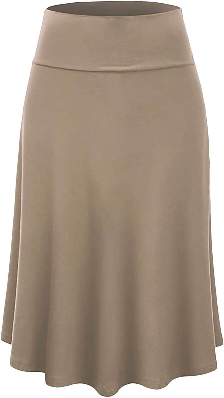 Vivicastle Women's USA Basic Fold-Over A-Line Midi Knee Length Flare Skirt - Made in USA