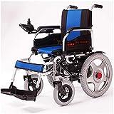 YQTXDS Silla de Ruedas eléctrica Ligera de Aluminio, Plegable, portátil, de 4 Ruedas, para Coche de enfermería, Andador, Azul (Silla de Ruedas)