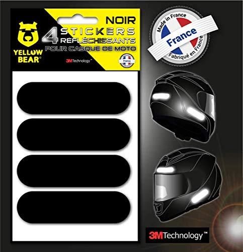 Yellow Bear™kit de 4 Stickers rétro réfléchissants 3M Scotchlite™ Material, Noir, pour Casque Moto, Tailles homologuées Visible la Nuit pour Votre sécurité