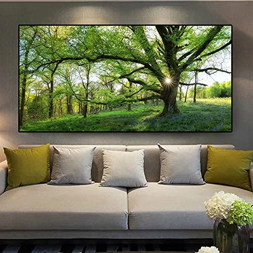 CHBOEN Peinture décorative Art Paysage Huile Peinture à l'huile Big Tree Vert Feuille Toile Peinture Affiches et impressions Accueil Salon Salon Décoration Peinture