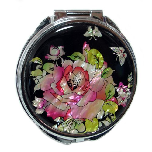 Mother of Pearl Red Rose Design Compact Cosmetic Purse Makeup Hand Mirror,3.2 Ounce by Antique Alive