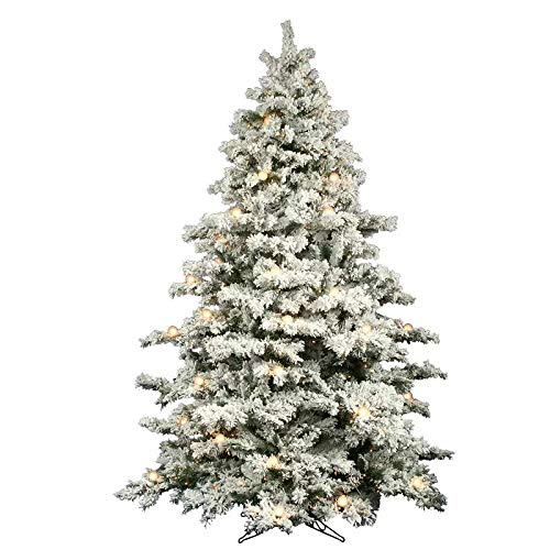 AMERIQUE 8' Eight-Function Multicolored and Warm Pre-Lit Premium Artificial Flocked Snowy Christmas Tree with Metal Stand, Hinged