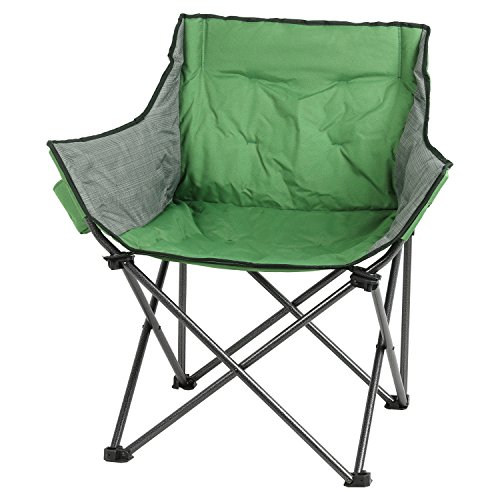 PORTAL Large Folding Camping Sofa Padded Outdoor Club Chair with Cup Holder, Green