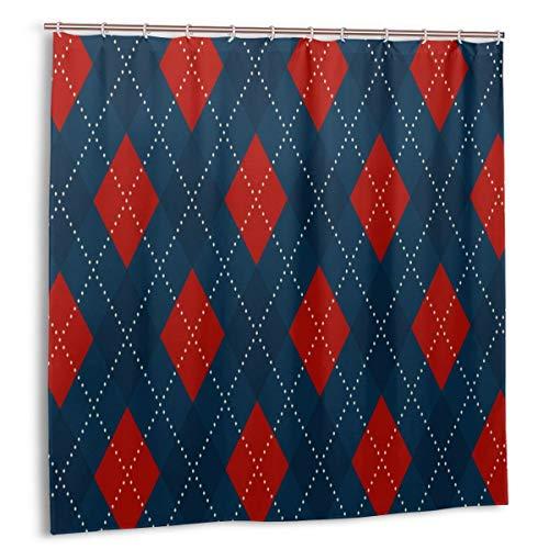 Duschvorhang, Weihnachts-Plaid-Argyle-Muster. Königsblau Ardent Red Diamond Motiv Bad Vorhang Set mit Haken